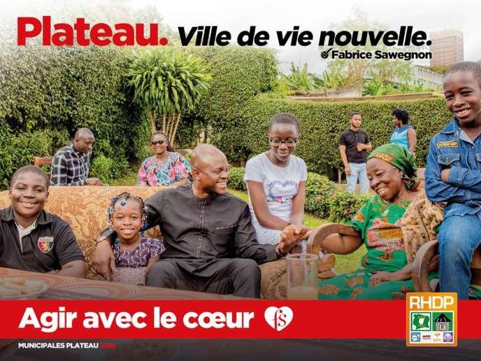Affiche de campagne de Fabrice Sawegnon, candidat du RHDP dans la commune du Plateau, à Abidjan.