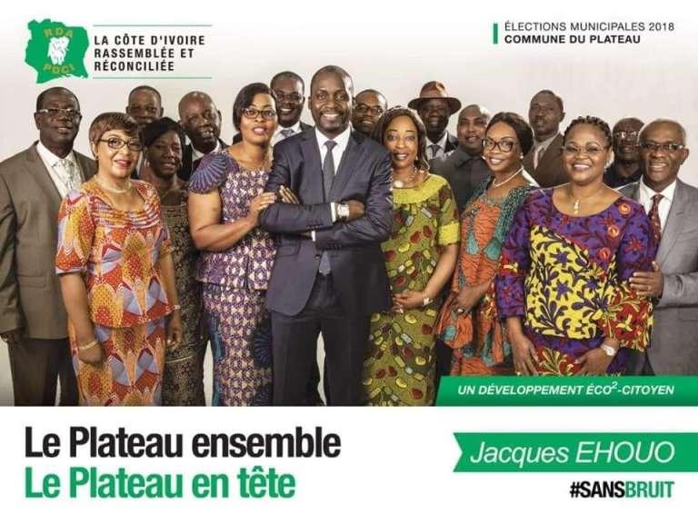 Affiche de campagne de Jacques Ehouo, candidat du PDCI dans la commune du Plateau, à Abidjan.