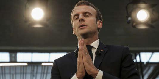 Emmanuel Macron, sur le site des start-up de la Station F, à Paris, le 9 octobre 2018.