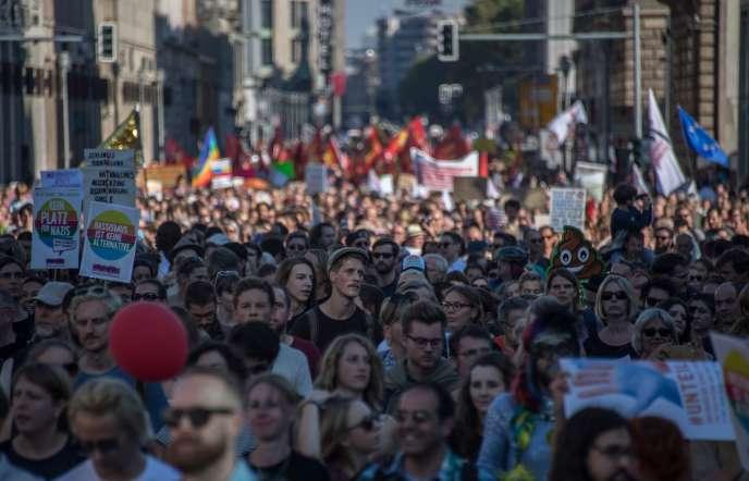 Lors de la manifestation contre la haine et le racisme dans les rues de Berlin, le 13octobre.