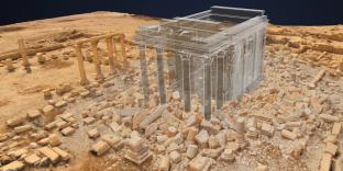 Reconstruction simulée du temple de Baalshamin à Palmyre, réduit en un amas de blocs par l'organisation Etat islamique.