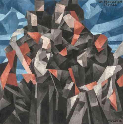 """«Dans """"La Procession, Séville"""", Francis Picabia traduit rythmiquement le souvenir d'une procession religieuse en un motif à peine discernable. Le défilé de nonnes vêtues en noir et blanc est fragmenté en plans irréguliers, entassés au centre du tableau devant un fond bleu évoquant le ciel d'Espagne. Picabia expose cette grande toile carrée en 1912 au Salon de la Section d'or, qui voit le triomphe public du cubisme en même temps que son """"écartèlement"""", comme le note alors Guillaume Apollinaire.»"""