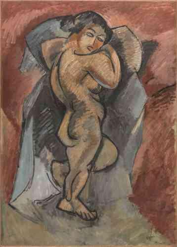 """«Par son rapport direct aux """"Grandes Baigneuses"""", de Cézanne, et sa composition massive et géométrisée, cette figure sculpturale est un jalon essentiel du premier cubisme. Avec son visage-masque et ses déformations, elle s'inscrit dans l'histoire du croisement entre cézannisme et primitivisme inauguré par le trio formé par Derain, Braque et Picasso.»"""