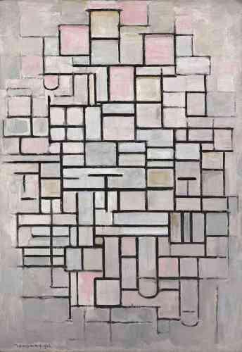 «Exposant régulier au Salon des Indépendants depuis 1911, Mondrian, à la veille de la Grande Guerre, commence à poser les bases du langage néoplastique, tel qu'il s'imposera au début des années 1920. En témoigne cette «Composition abstraite », où l'artiste s'inspire de panneaux publicitaires vus depuis son atelier de la rue du Départ. Encore tributaire du langage cubiste, l'œuvre se caractérise par un dense réseau de formes géométriques, un coloris atténué et une recherche de frontalité qui annoncent les œuvres radicales de sa maturité.»