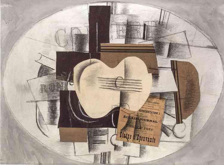 «Considéré comme l'un des chefs-d'œuvre de Braque, ce papier collé rassemble les objets fétiches du cubisme, dessinés ou représentés par des éléments en trompe-l'œil: une guitare sur un guéridon devant un mur lambrissé. Un vrai programme de cinéma, collé au premier plan, permet de dater l'œuvre fin 1913, époque du séjour de Braque et de Picasso à Sorgues, près d'Avignon. Témoin de la complicité des deux artistes, ce papier collé a appartenu à Picasso, qui l'a conservé toute sa vie.»