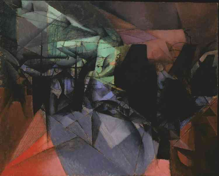 «Présenté au Salon des Indépendants de 1914, cette composition presque abstraite a été précédée de plusieurs peintures ou dessins préparatoires. Elle traduit la fascination de Jacques Villon, tout comme ses frères, Marcel Duchamp et Raymond Duchamp-Villon, pour le thème de la machine. La restitution du mouvement mécanique, rendu ici par un délicat réseau de lignes et de plans subtilement colorés, n'est pas sans affinité avec l'esthétique développée par les Futuristes.»