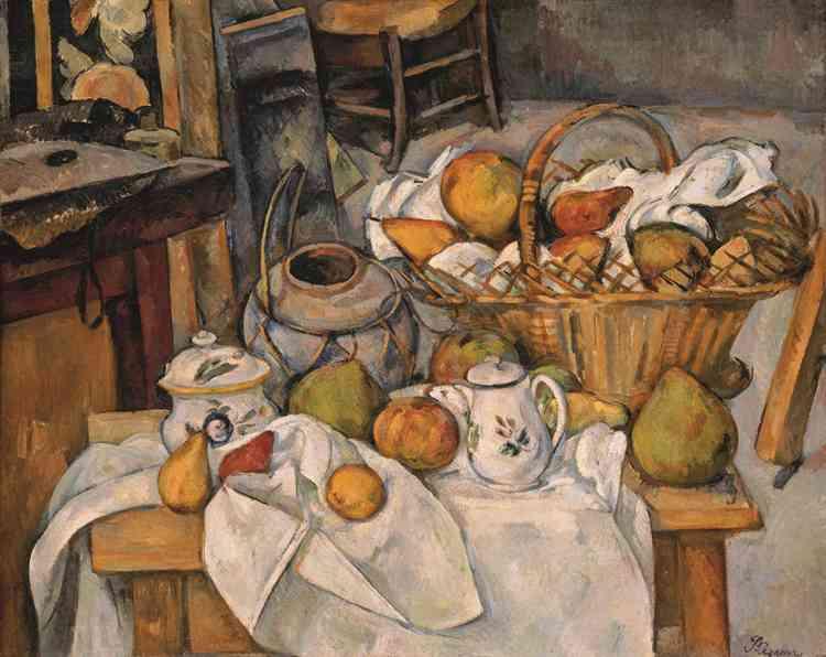 «Caractérisée par un rassemblement virtuose de motifs intensément colorés, cette nature morte qui s'épanouit au creux de draperies baroques, résume tout le génie de Cézanne fondé sur une structuration rigoureuse du réel bousculée par un souffle onirique qui donne vie aux objets inanimés.»