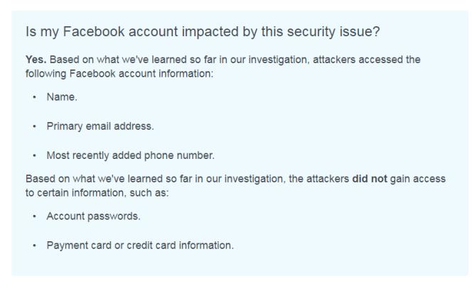 Un message de Facebook indiquant qu'un utilisateur a été piraté.