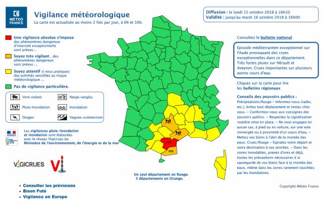 Carte de vigilance météorologique de Météo France, lundi 15 octobre à 20 heures.