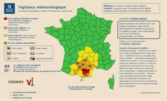 Carte de vigilance météorologique de Météo France, lundi 15 octobre à 6 heures.