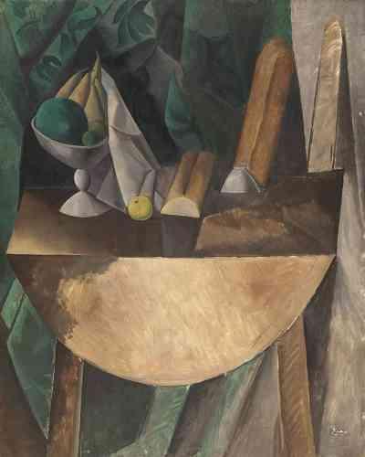 «Initialement conçue par Picasso comme une scène de carnaval au bistrot, dans l'esprit de sa période bleue, elle est transformée par le peintre en une nature morte impressionnante par la pureté de ses formes géométrisées et l'harmonie de sa composition qui renvoient autant au Siècle d'or espagnol qu'au modèle cézannien.»