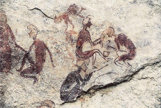 Art pariétal, grotte de Tadrart à Acacus, en Libye. Plusieurs périodes y sont présentes, datées de 12000av. J.-C. à 100.