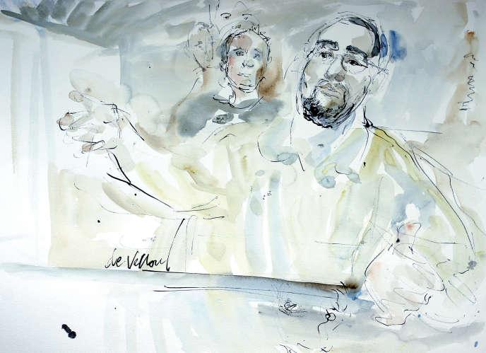 Croquis d'audience, réalisé le 4 janvier 2005 au tribunal correctionnel de Paris, montrant le Kamel Daoudi au deuxième jour du procès du réseau de terroristes islamistes dirigé par Djamel Beghal, accusé d'avoir voulu commettre un attentat-suicide contre l'ambassade des Etats-Unis à Paris courant 2002.
