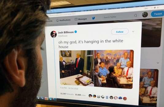 La peinture d'Andy Thomas est apparue au détour de l'interview accordée par le président à l'émission « 60 minutes », dimanche, sur CBS.