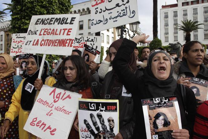 Manifestation contre les violences faites aux femmes, à Rabat, en novembre 2013.