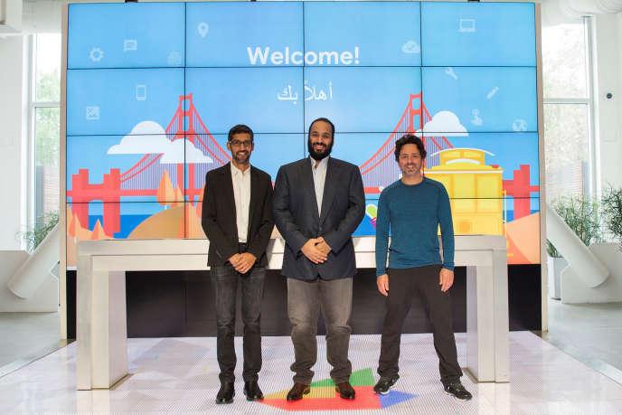 Le prince héritier d'Arabie saoudite, Mohammed Ben Salman, chez Google, lors de sa visite dans la Silicon Valley, aux Etats-Unis, le 6 avril.