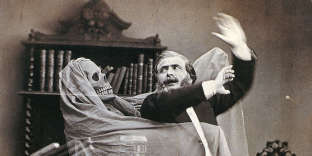 L'illusionniste Henri Robin et le fantôme, photographie d'Eugène Thibault, 1863.