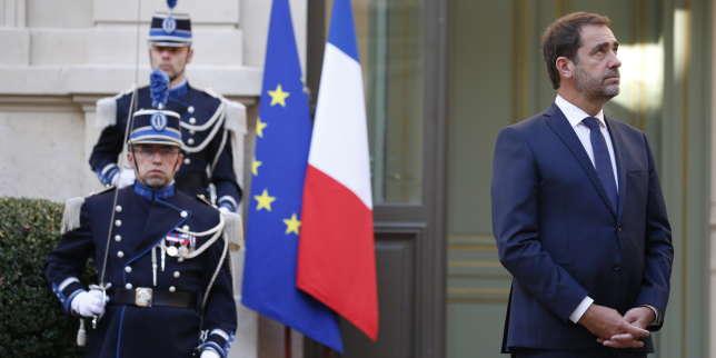 Christophe Castaner lors de la passation des pouvoirs, place Beauvau, le 16 octobre.