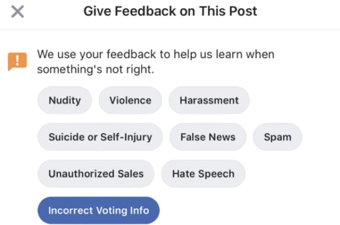 Les nouvelles options de signalement de Facebook.