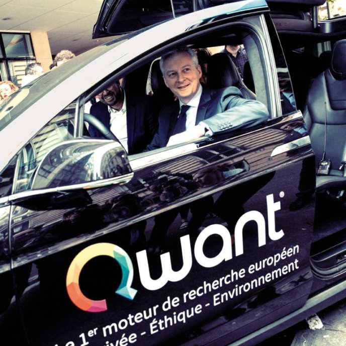 Le ministre de l'économie et des finances, Bruno Le Maire, lors de l'inauguration du siège parisien de Qwant, en juin.