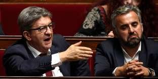 Jean-Luc Mélenchon et Alexis Corbière lors des Questions au gouvernement à l'Assemblée nationale, le 17 octobre 2018.