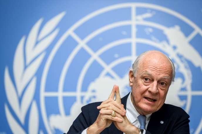 Staffan de Mistura au siège européen des Nations unies à Genève (Suisse), en décembre 2017.