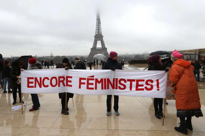 Manifestation féministe organisée un an après l'élection de Donald Trump, à Paris, le 21 janvier.