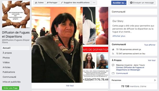 Capture d'écran de la page Facebook« Diffusion de Fugues et Disparitions», à 73 000 fans.