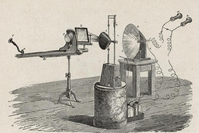 Le photophone d' Alexander Graham Bell, qui utilise la lumière pour transmettre du son (1880).