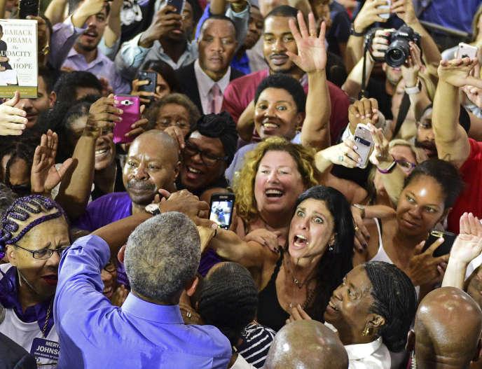 Barack Obama en visite à Cleveland, dans l'Ohio, pour soutenir le candidat démocrate Richard Cordray, le 13 septembre.