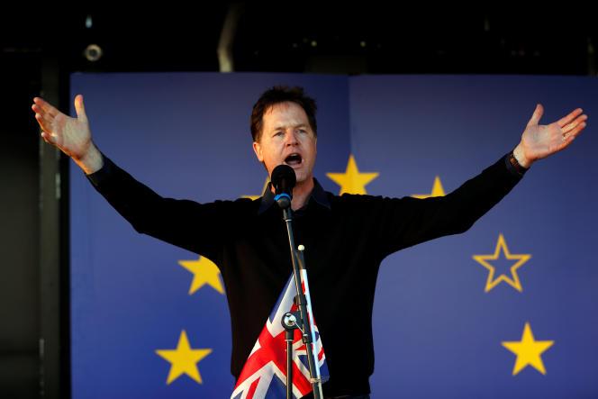 Nick Clegg lors d'un rassemblement en faveur de l'Europe à Londres, en mars 2017.