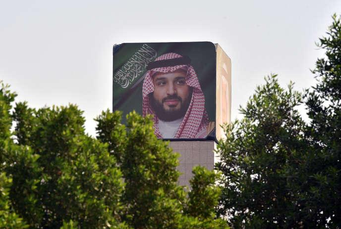 Un portrait du prince héritier Mohammed Ben Salman à Riyad, le 18 octobre.