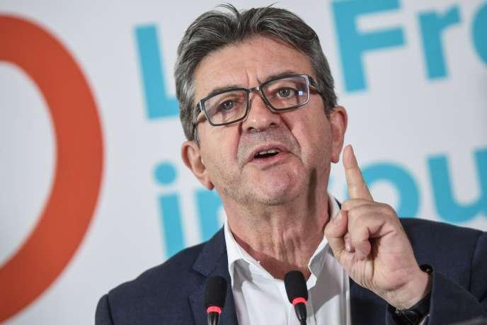 Jean-Luc Melenchon, leader des députés de La France insoumise, lors d'une conférence de presse, le 19 octobre.