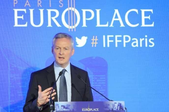 Le ministre de l'économie, Bruno Le Maire, le 11 juillet 2018, lors de la réunion annuelle de Paris Europlace, le lobby de la place parisienne.