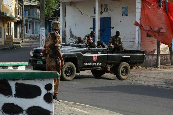 Une voiture des forces de défense comoriennes, samedi20octobre, à Moutsamoudou.