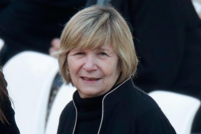 La directrice de l'agence de photo Bestimage, Michèle Marchand, lors de l'hommage au chanteur Charles Aznavour, à Paris, le 5 octobre.