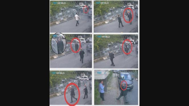 Images prises par les caméras de sécurité montrantJamal Khashoggi devant le consulat saoudien à Istanbul, le 2 octobre.