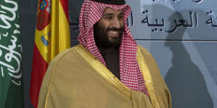 FILE - In this April 12, 2018, file photo, Saudi Crown Prince Mohammed bin Salman prepares to leave after a signing ceremony with Spain's Prime Minister Mariano Rajoy in Madrid, Spain. The killing of Saudi journalist Jamal Khashoggi at the kingdom's consulate in Istanbul on Oct. 2, 2018, is unlikely to halt Salman's rise to power, but could cause irreparable harm to relations with Western governments and businesses, potentially endangering his ambitious reform plans. (AP Photo/Paul White, File)