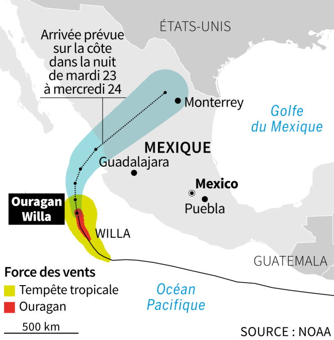 Carte de déplacement de l'ouragan Willa.