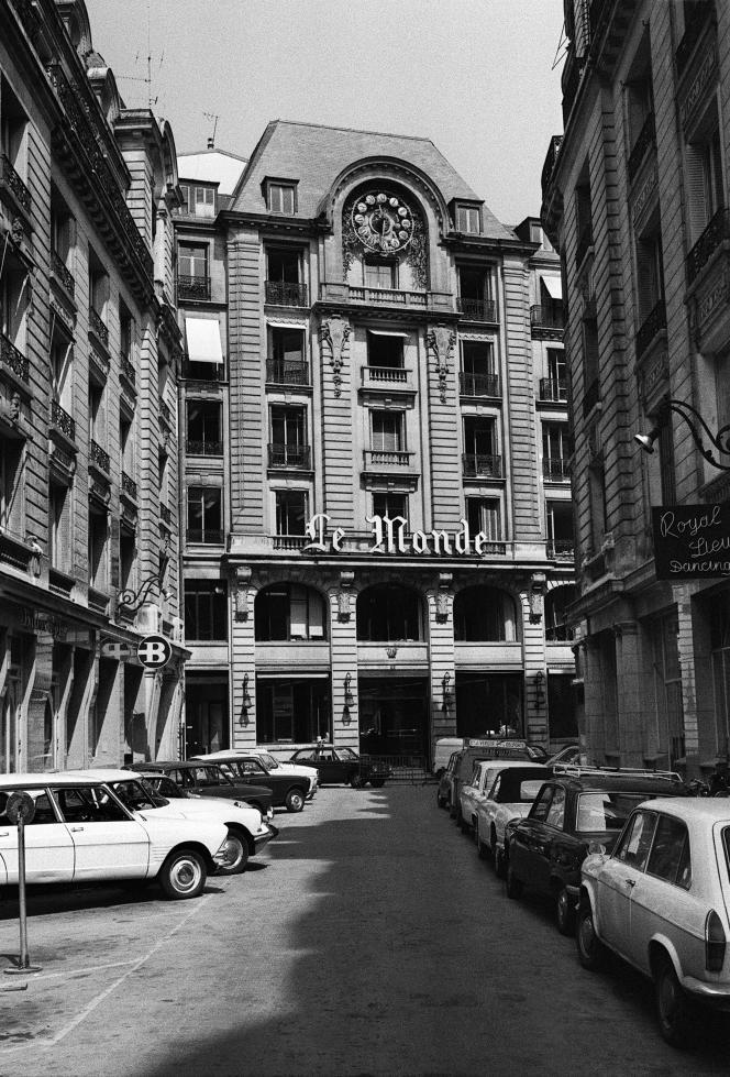 Les locaux du journal « Le Monde », rue des Italiens, dans le 9e arrondissement de Paris, en août 1970.