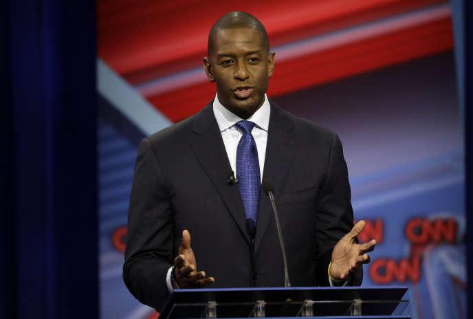 Andrew Gillum, candidat démocrate, au poste de gouverneur de l'Etat de Floride, lors d'un débat diffusé sur la chaîne CNN, le 21 octobre.
