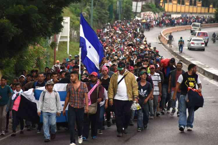 La caravane de migrants honduriens à Chiquimula (Guatemala), le 17 octobre.