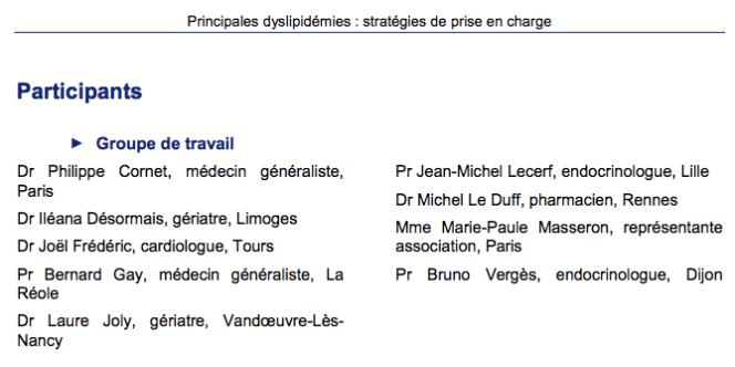 Liste des participants au rapport d'évaluation« Principale dyslipidémies : stratégies de prise en charge», publié par la Haute Autorité de santé (HAS), en février 2017.