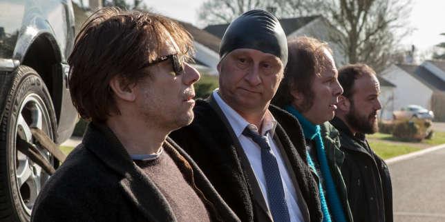 Mathieu Amalric (Bertrand),Benoît Poelvoorde (Marcus),Philippe Katerine (Thierry) et Alban Ivanov (Basile) dans «Le Grand Bain», de Gilles Lellouche.