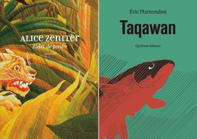Montage des couvertures de «L'Art de perdre», d'Alice Zeniter (Flammarion), et de «Taqawan», d'Eric Plamondon (Quidam éditeur).