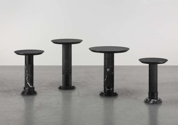Série de guéridons, mobilier en marbre Karl Lagerfeld, untitled VII (nero marquina), 2018.
