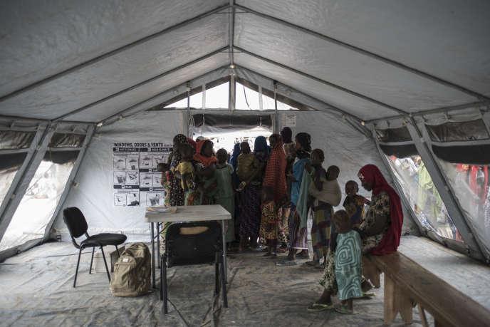 Dans un camp pour personnes déplacées à Rann, dans l'Etat de Borno, au nord-est du Nigeria, près de la frontière camerounaise, le 29 juillet 2017.