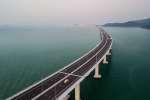Une vue aérienne du gigantesque pont inauguré entre Hongkong et la Chine, le 23 octobre 2018.