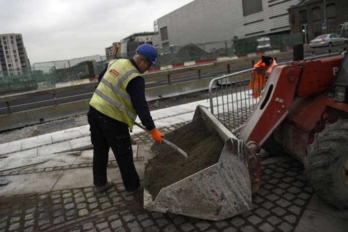 Sur un chantier à Dublin (Irlande), en 2016.