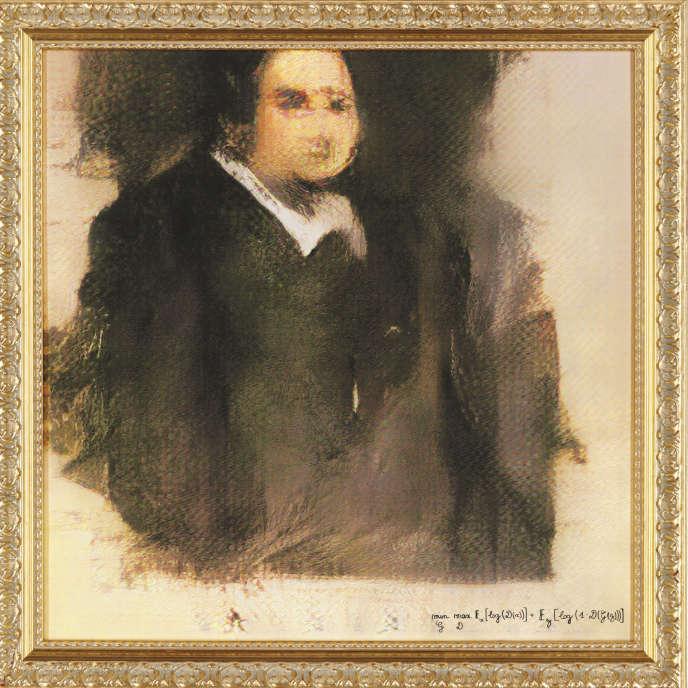 «Portrait d'Edmond de Belamy»,«première œuvre produite par une intelligence artificielle» adjugée pour380500€, à New York, le 25 octobre.